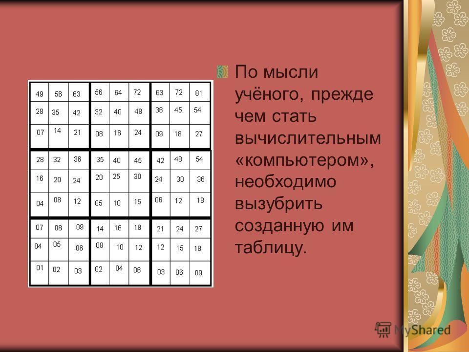 По мысли учёного, прежде чем стать вычислительным «компьютером», необходимо вызубрить созданную им таблицу.