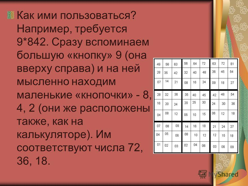 Как ими пользоваться? Например, требуется 9*842. Сразу вспоминаем большую «кнопку» 9 (она вверху справа) и на ней мысленно находим маленькие «кнопочки» - 8, 4, 2 (они же расположены также, как на калькуляторе). Им соответствуют числа 72, 36, 18.