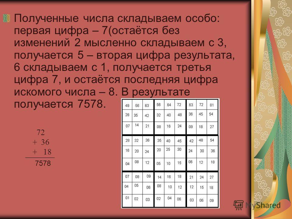 Полученные числа складываем особо: первая цифра – 7(остаётся без изменений 2 мысленно складываем с 3, получается 5 – вторая цифра результата, 6 складываем с 1, получается третья цифра 7, и остаётся последняя цифра искомого числа – 8. В результате пол