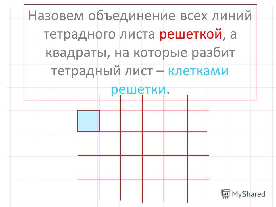 Назовем объединение всех линий тетрадного листа решеткой, а квадраты, на которые разбит тетрадный лист – клетками решетки.