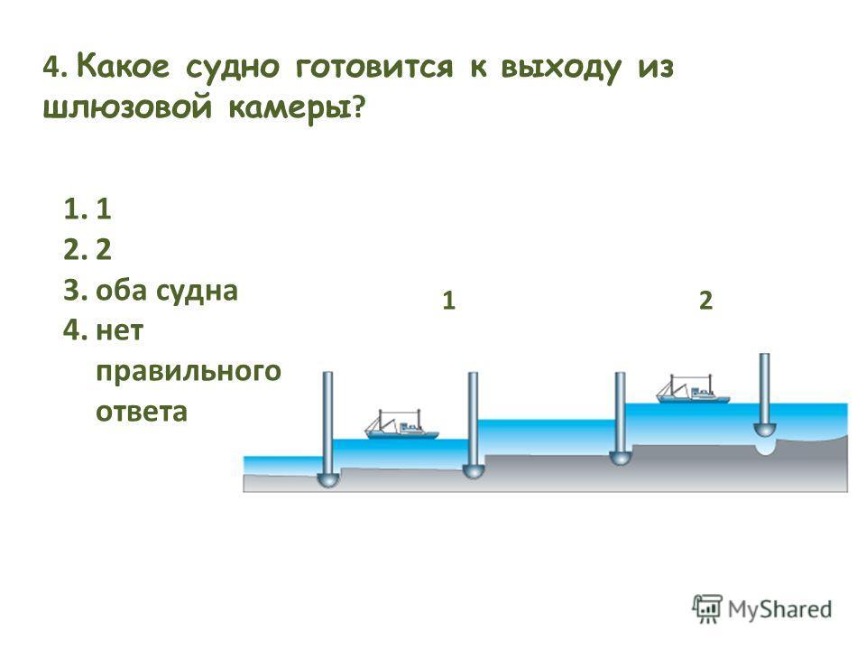 21 4. Какое судно готовится к выходу из шлюзовой камеры ? 1.1 2.2 3.оба судна 4.нет правильного ответа