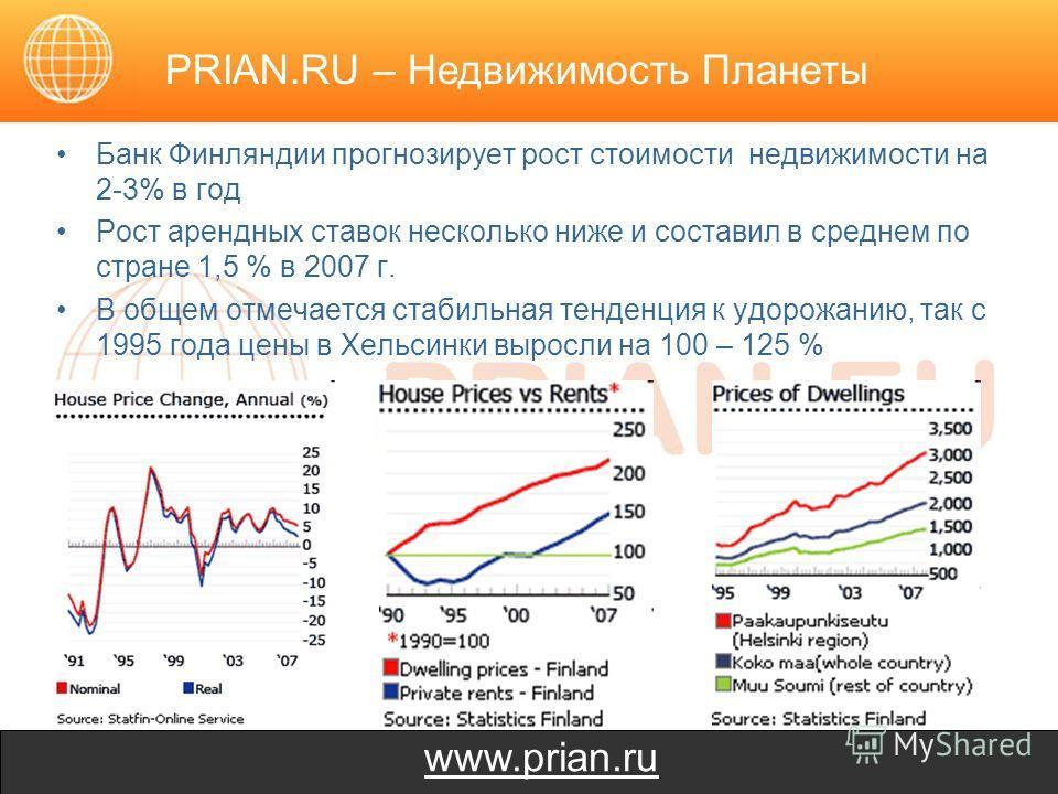 www.prian.ru Банк Финляндии прогнозирует рост стоимости недвижимости на 2-3% в год Рост арендных ставок несколько ниже и составил в среднем по стране 1,5 % в 2007 г. В общем отмечается стабильная тенденция к удорожанию, так с 1995 года цены в Хельсин