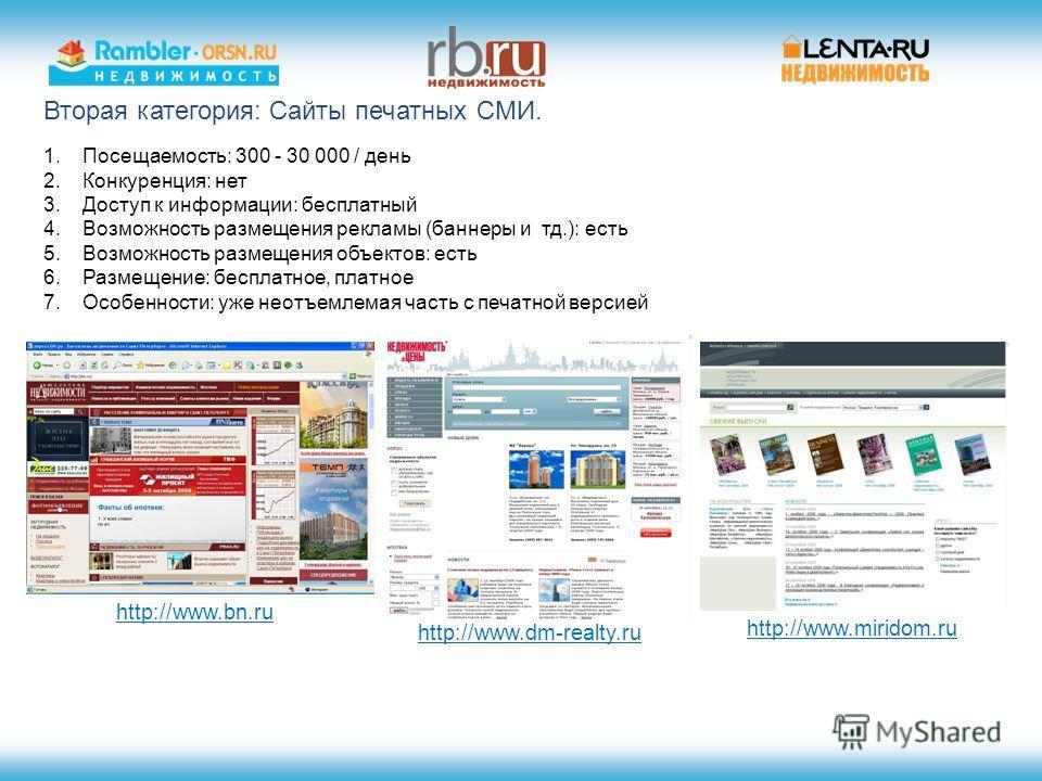 Вторая категория: Сайты печатных СМИ. http://www.dm-realty.ru http://www.miridom.ru http://www.bn.ru 1.Посещаемость: 300 - 30 000 / день 2.Конкуренция: нет 3.Доступ к информации: бесплатный 4.Возможность размещения рекламы (баннеры и тд.): есть 5.Воз
