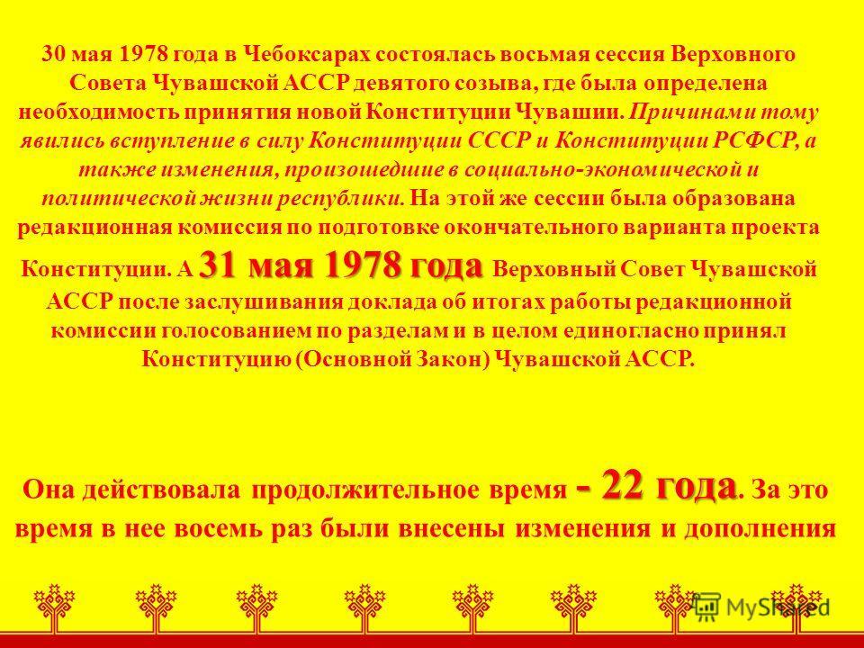 31 мая 1978 года 30 мая 1978 года в Чебоксарах состоялась восьмая сессия Верховного Совета Чувашской АССР девятого созыва, где была определена необходимость принятия новой Конституции Чувашии. Причинами тому явились вступление в силу Конституции СССР