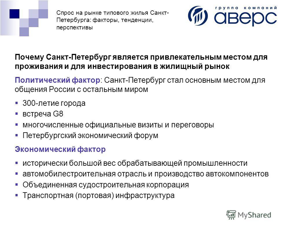 Спрос на рынке типового жилья Санкт- Петербурга: факторы, тенденции, перспективы Почему Санкт-Петербург является привлекательным местом для проживания и для инвестирования в жилищный рынок Политический фактор: Санкт-Петербург стал основным местом для