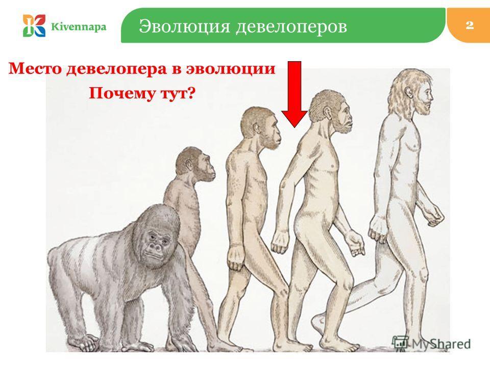 Эволюция девелоперов Место девелопера в эволюции Почему тут? 2