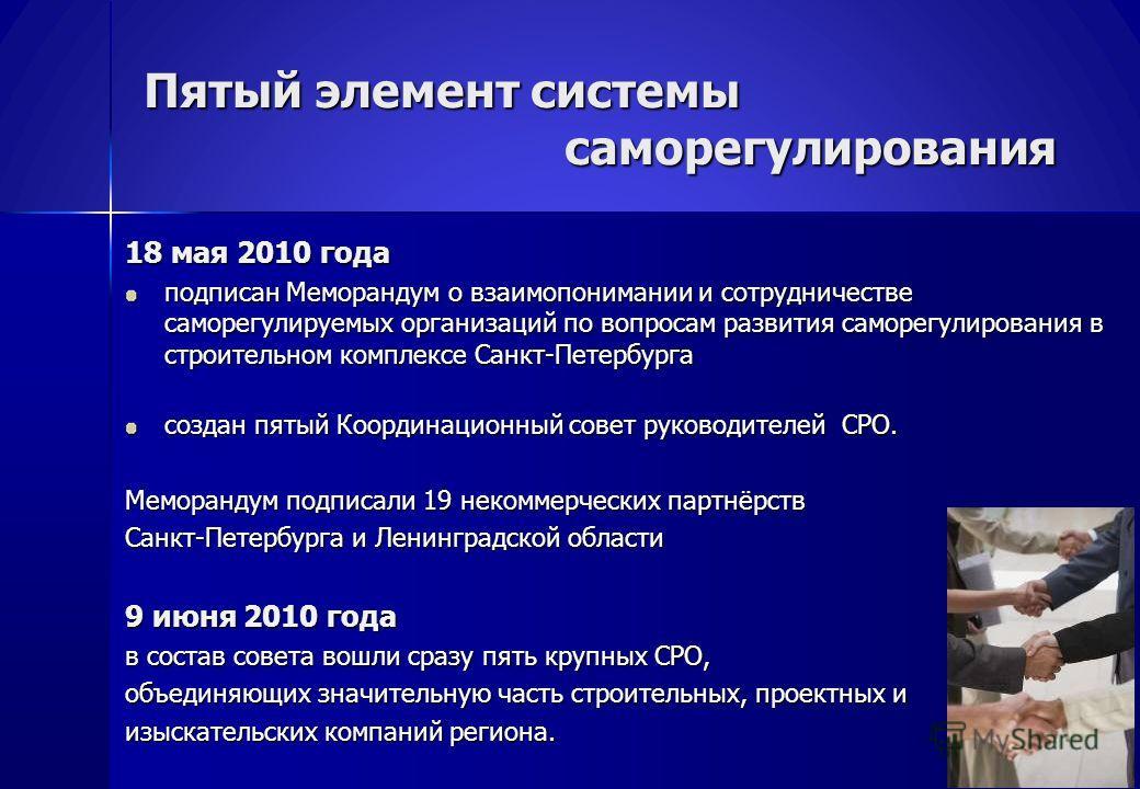 Пятый элемент системы саморегулирования 18 мая 2010 года подписан Меморандум о взаимопонимании и сотрудничестве саморегулируемых организаций по вопросам развития саморегулирования в строительном комплексе Санкт-Петербурга создан пятый Координационный