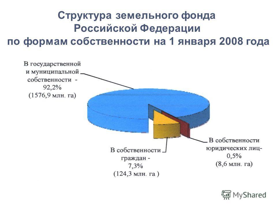 Структура земельного фонда Российской Федерации по формам собственности на 1 января 2008 года
