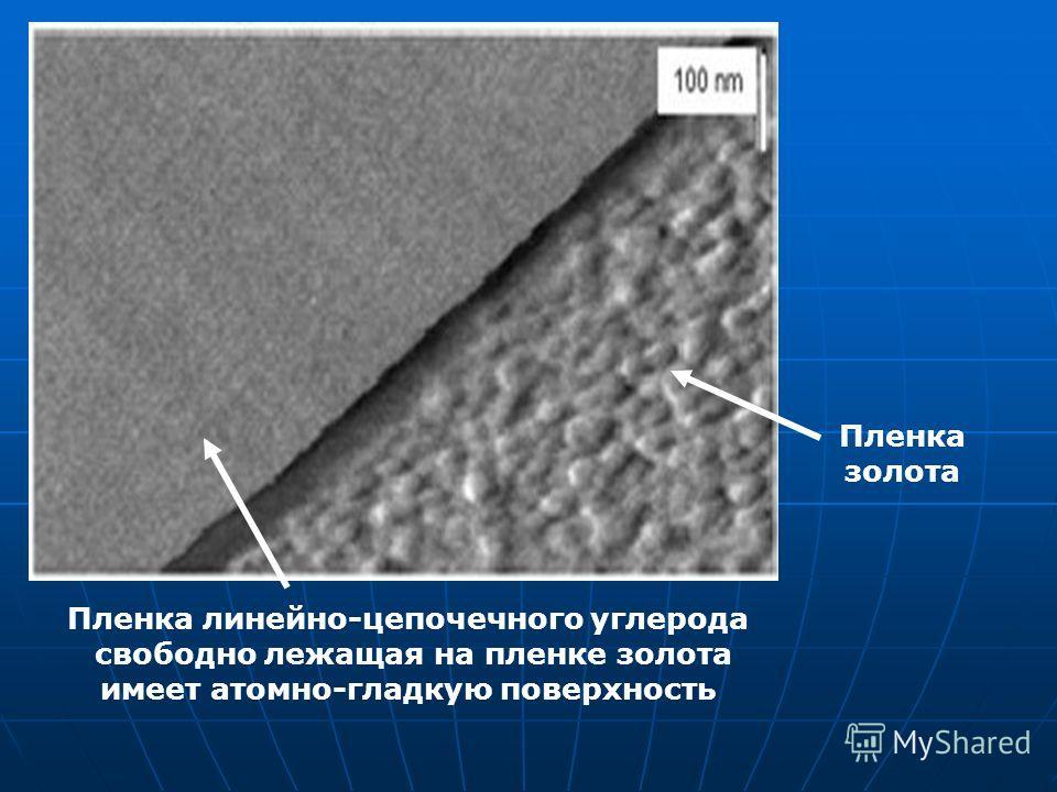 Пленка линейно-цепочечного углерода свободно лежащая на пленке золота имеет атомно-гладкую поверхность Пленка золота