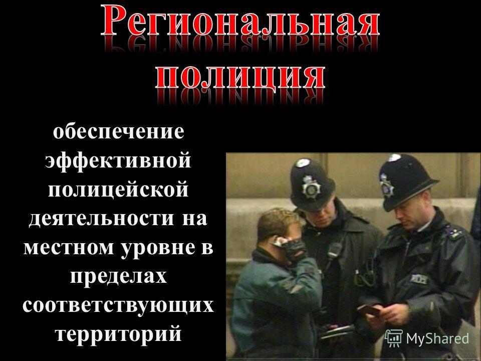 обеспечение эффективной полицейской деятельности на местном уровне в пределах соответствующих территорий