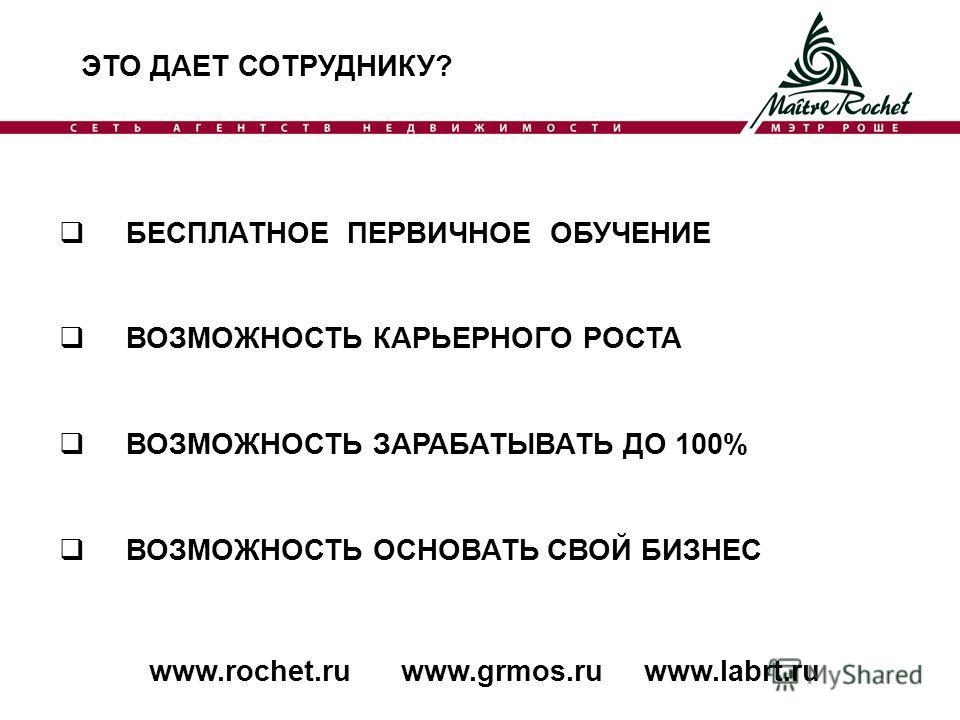 ЭТО ДАЕТ СОТРУДНИКУ? www.rochet.ru www.grmos.ru www.labrt.ru БЕСПЛАТНОЕ ПЕРВИЧНОЕ ОБУЧЕНИЕ ВОЗМОЖНОСТЬ КАРЬЕРНОГО РОСТА ВОЗМОЖНОСТЬ ЗАРАБАТЫВАТЬ ДО 100% ВОЗМОЖНОСТЬ ОСНОВАТЬ СВОЙ БИЗНЕС