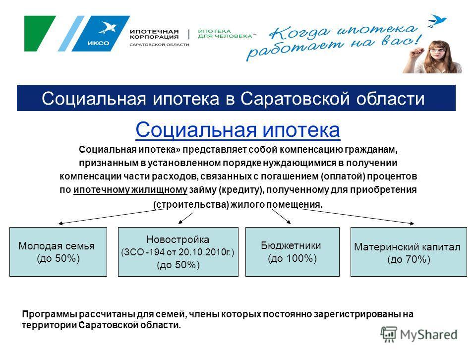 Социальная ипотека Социальная ипотека» представляет собой компенсацию гражданам, признанным в установленном порядке нуждающимися в получении компенсации части расходов, связанных с погашением (оплатой) процентов по ипотечному жилищному займу (кредиту
