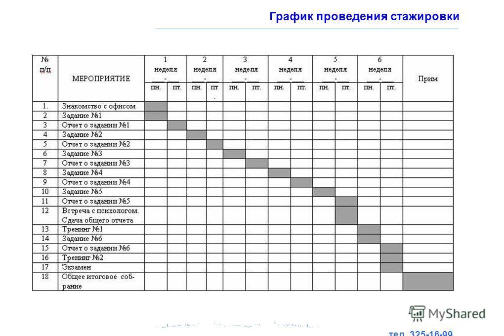 тел. 325-16-99 www.ecoton.spb.ru График проведения стажировки