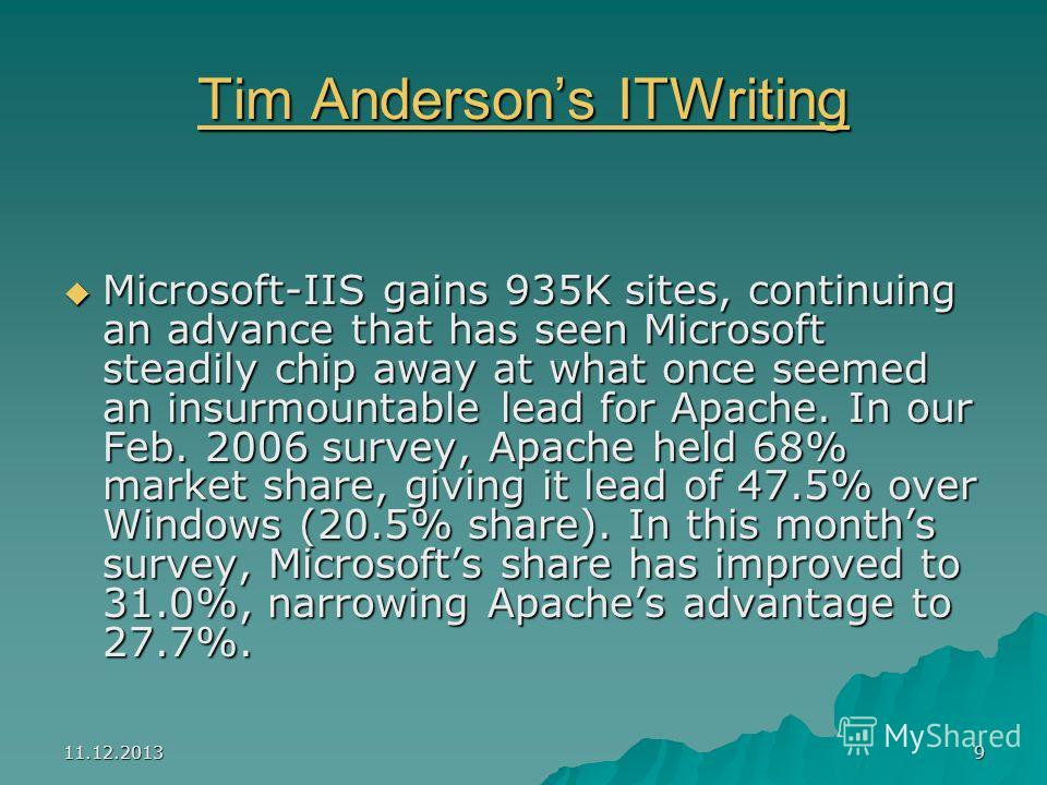 11.12.20139 Tim Andersons ITWriting Tim Andersons ITWriting Microsoft-IIS gains 935K sites, continuing an advance that has seen Microsoft steadily chip away at what once seemed an insurmountable lead for Apache. In our Feb. 2006 survey, Apache held 6