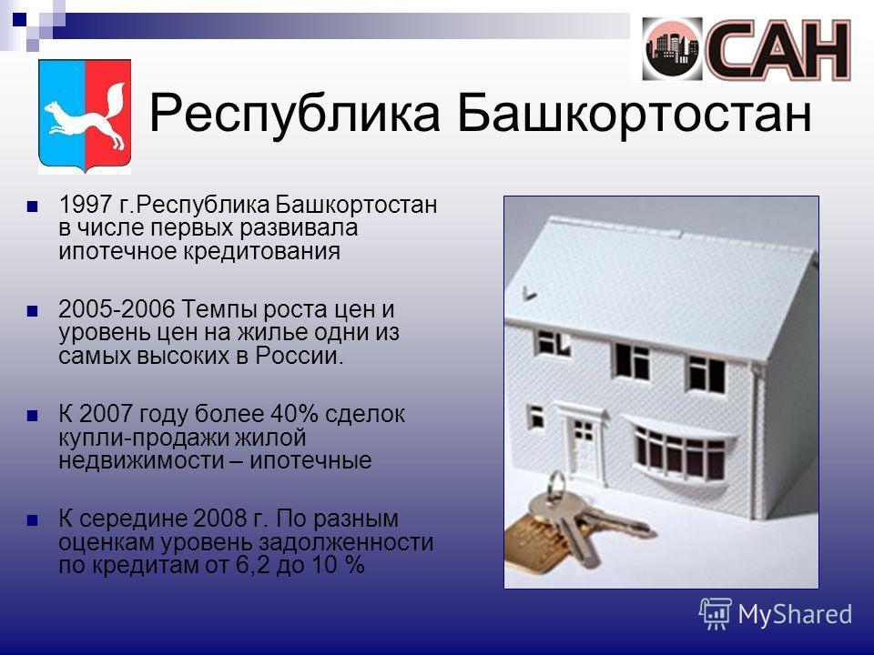 Республика Башкортостан 1997 г.Республика Башкортостан в числе первых развивала ипотечное кредитования 2005-2006 Темпы роста цен и уровень цен на жилье одни из самых высоких в России. К 2007 году более 40% сделок купли-продажи жилой недвижимости – ип