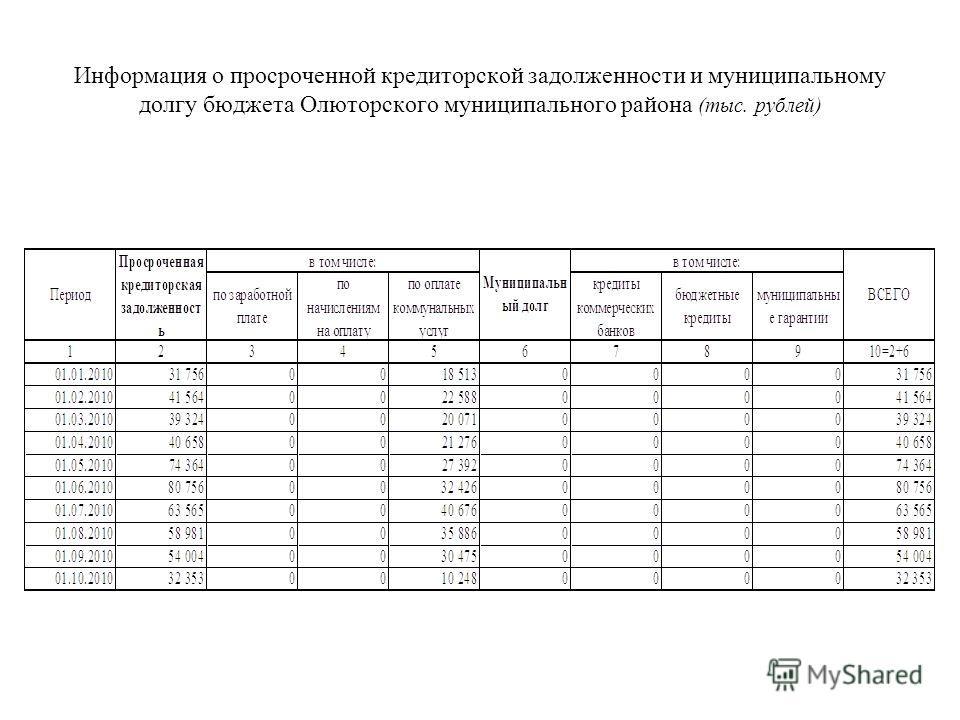 Информация о просроченной кредиторской задолженности и муниципальному долгу бюджета Олюторского муниципального района (тыс. рублей)