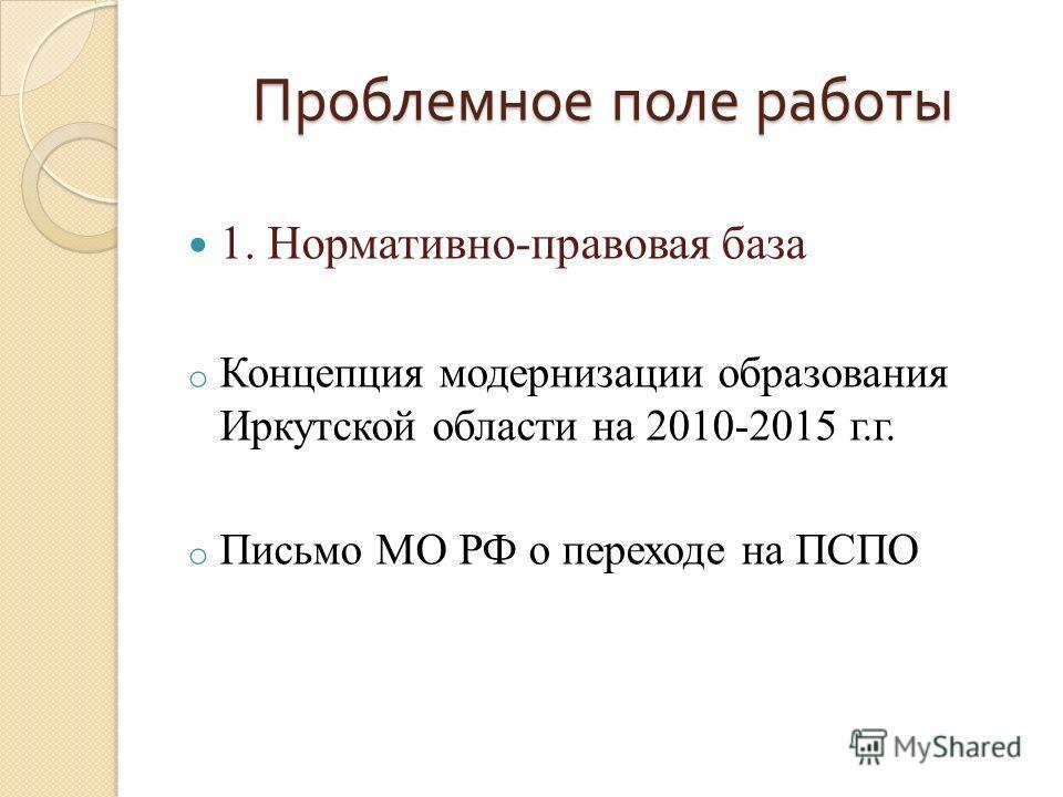 Проблемное поле работы 1. Нормативно-правовая база o Концепция модернизации образования Иркутской области на 2010-2015 г.г. o Письмо МО РФ о переходе на ПСПО