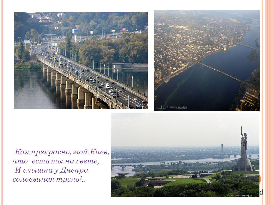 Как прекрасно, мой Киев, что есть ты на свете, И слышна у Днепра соловьиная трель!..