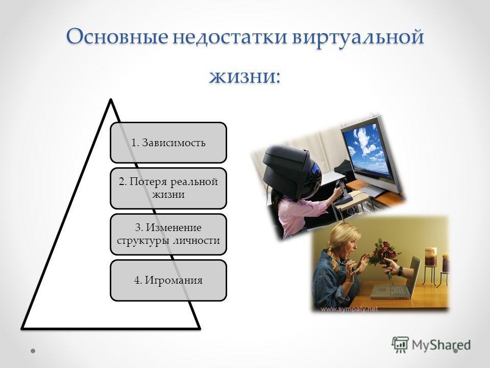 Основные недостатки виртуальной жизни: 1. Зависимость 2. Потеря реальной жизни 3. Изменение структуры личности 4. Игромания