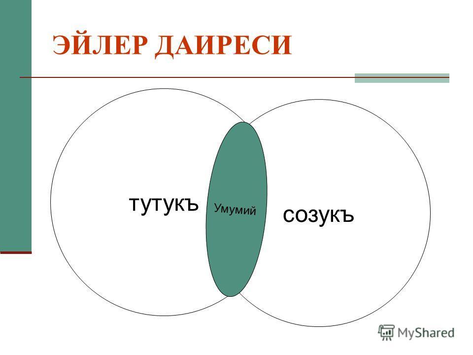 ЭЙЛЕР ДАИРЕСИ тутукъ созукъ Умумий