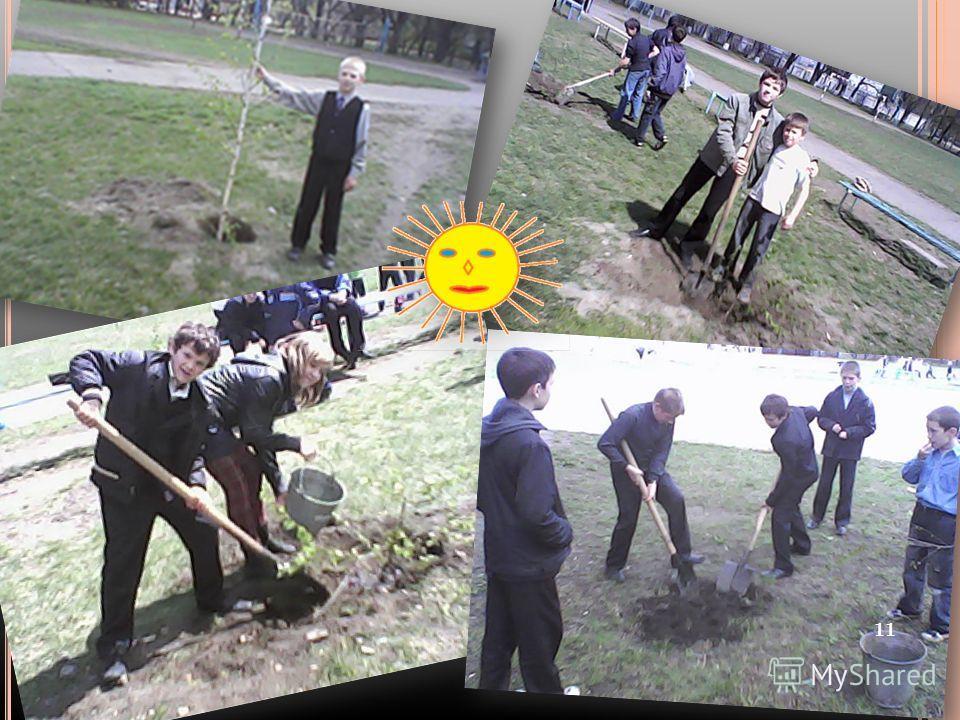 Півкласу саджали дерева, а інші носили воду та поливали. За браком часу попросили допомоги у хлопців 7 класу. Вони нам допомогли садити саджанці. Потім ми склали графік поливу дерев. 10