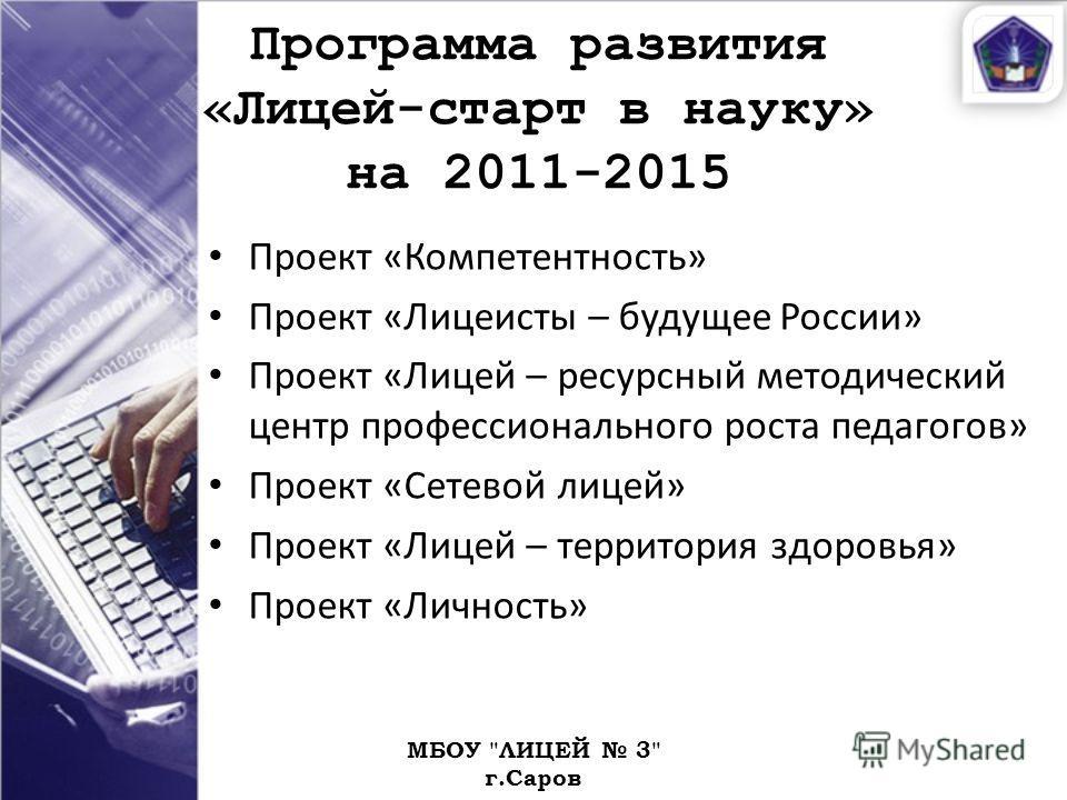 Программа развития «Лицей-старт в науку» на 2011-2015 Проект «Компетентность» Проект «Лицеисты – будущее России» Проект «Лицей – ресурсный методический центр профессионального роста педагогов» Проект «Сетевой лицей» Проект «Лицей – территория здоровь