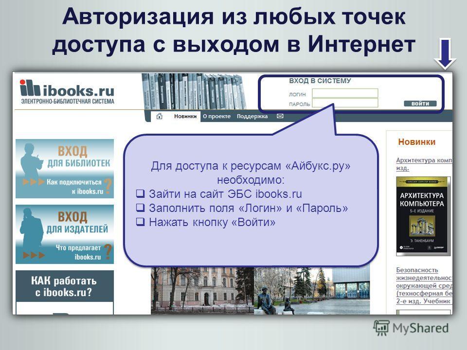 Для доступа к ресурсам «Айбукс.ру» необходимо: Зайти на сайт ЭБС ibooks.ru Заполнить поля «Логин» и «Пароль» Нажать кнопку «Войти» Для доступа к ресурсам «Айбукс.ру» необходимо: Зайти на сайт ЭБС ibooks.ru Заполнить поля «Логин» и «Пароль» Нажать кно