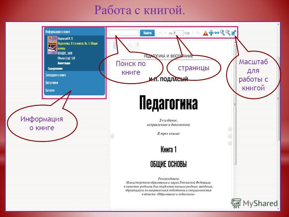 Работа с книгой. Поиск по книге страницы Масштаб для работы с книгой Информация о книге