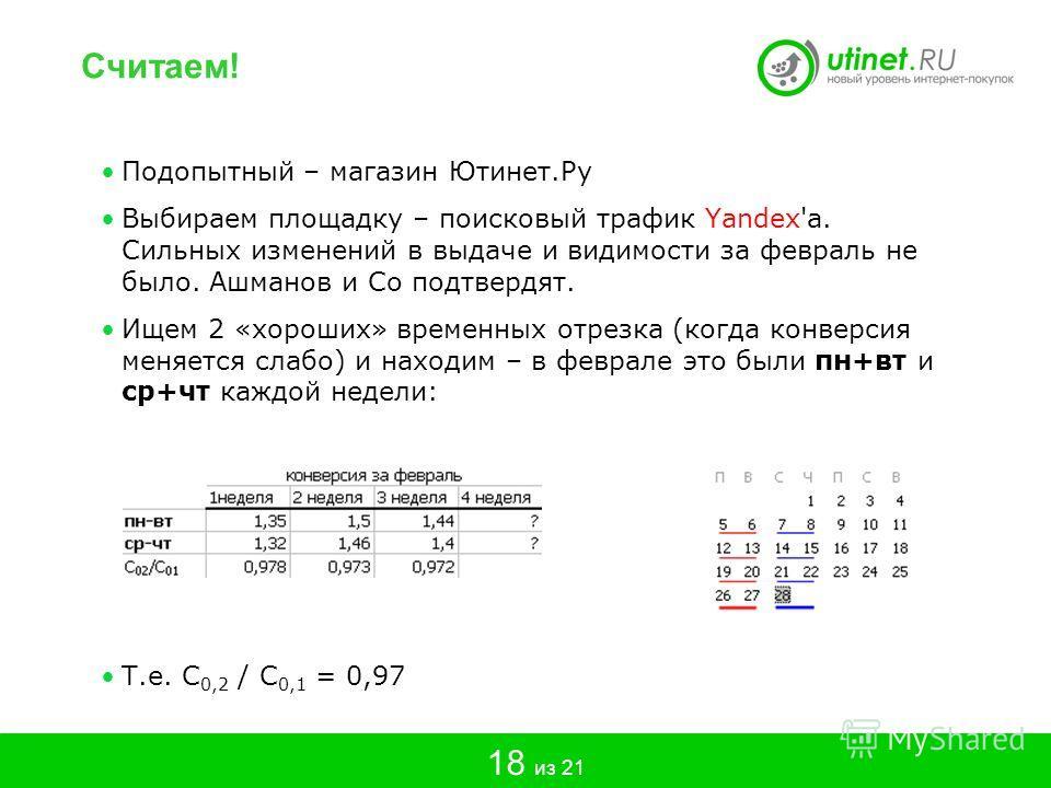 Подопытный – магазин Ютинет.Ру Выбираем площадку – поисковый трафик Yandex'a. Сильных изменений в выдаче и видимости за февраль не было. Ашманов и Co подтвердят. Ищем 2 «хороших» временных отрезка (когда конверсия меняется слабо) и находим – в феврал