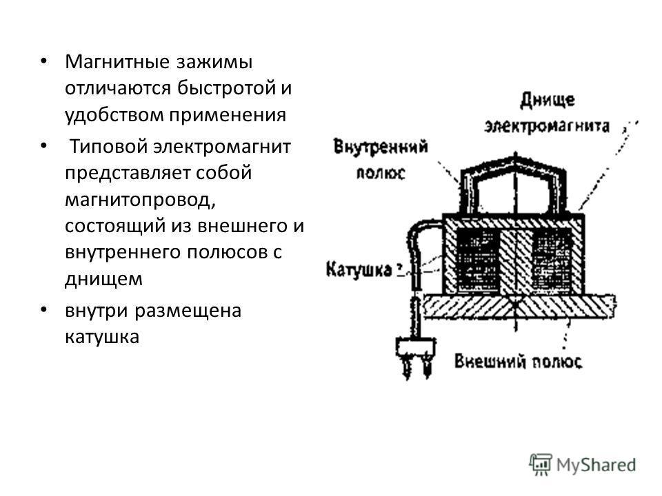 Магнитные зажимы отличаются быстротой и удобством применения Типовой электромагнит представляет собой магнитопровод, состоящий из внешнего и внутреннего полюсов с днищем внутри размещена катушка