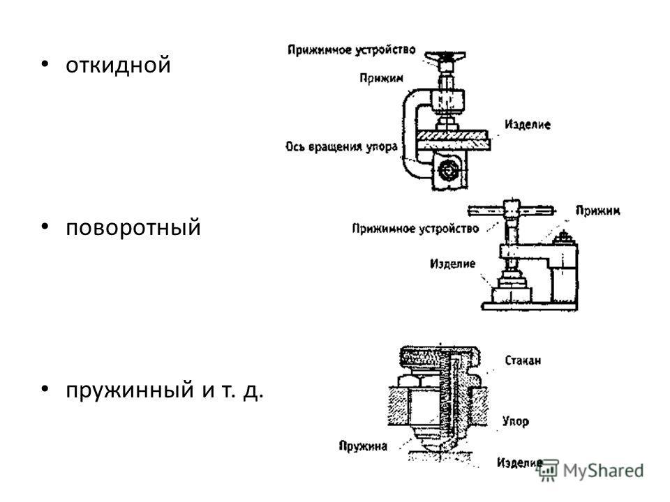 откидной поворотный пружинный и т. д.