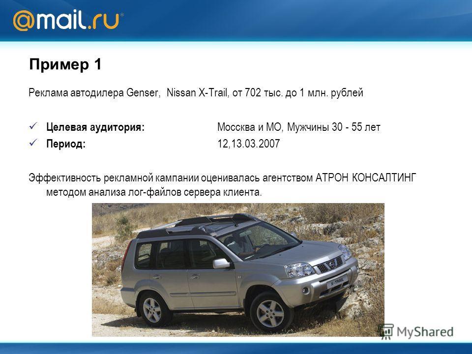 Пример 1 Реклама автодилера Genser, Nissan X-Trail, от 702 тыс. до 1 млн. рублей Целевая аудитория: Моссква и МО, Мужчины 30 - 55 лет Период: 12,13.03.2007 Эффективность рекламной кампании оценивалась агентством АТРОН КОНСАЛТИНГ методом анализа лог-ф