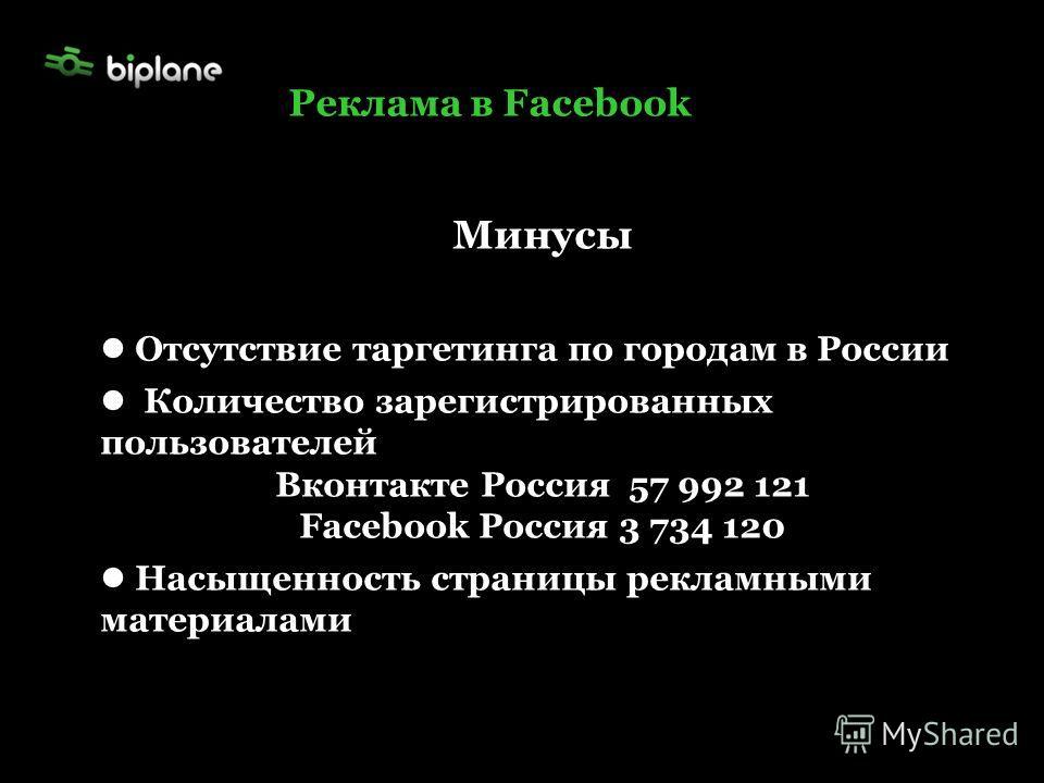 Реклама в Facebook Минусы Отсутствие таргетинга по городам в России Количество зарегистрированных пользователей Вконтакте Россия 57 992 121 Facebook Россия 3 734 120 Насыщенность страницы рекламными материалами
