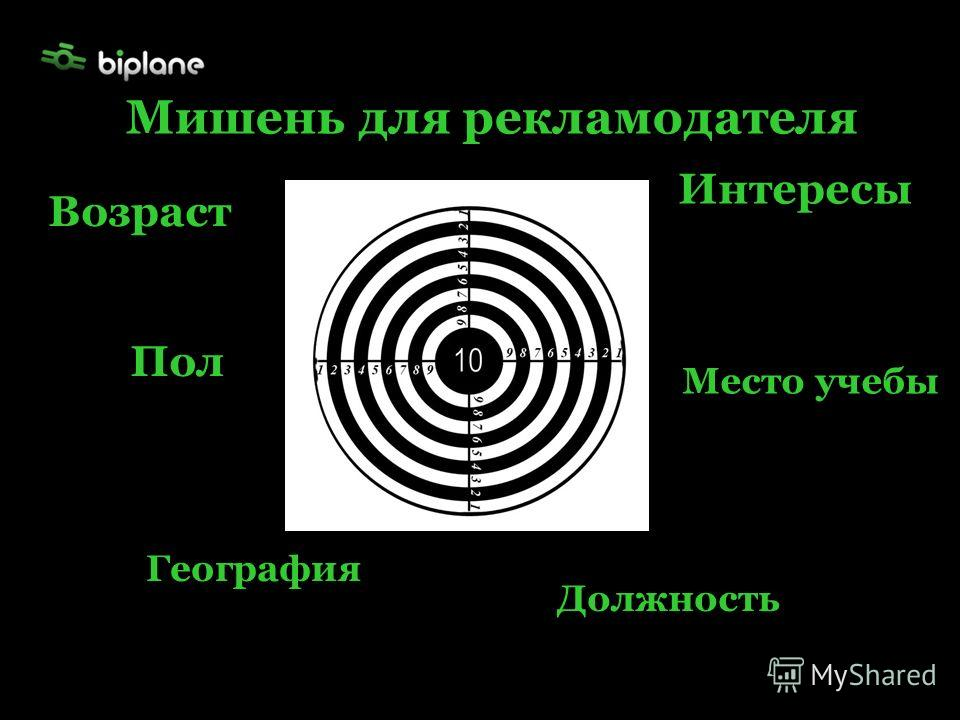 Возраст Пол Интересы География Место учебы Должность Мишень для рекламодателя