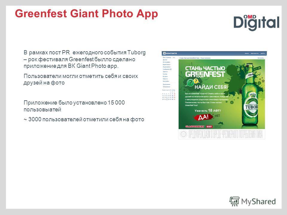 Greenfest Giant Photo App В рамках пост PR ежегодного события Tuborg – рок фестиваля Greenfest былло сделано приложение для ВК Giant Photo app. Пользователи могли отметить себя и своих друзей на фото Приложение было установлено 15 000 пользовыатей ~