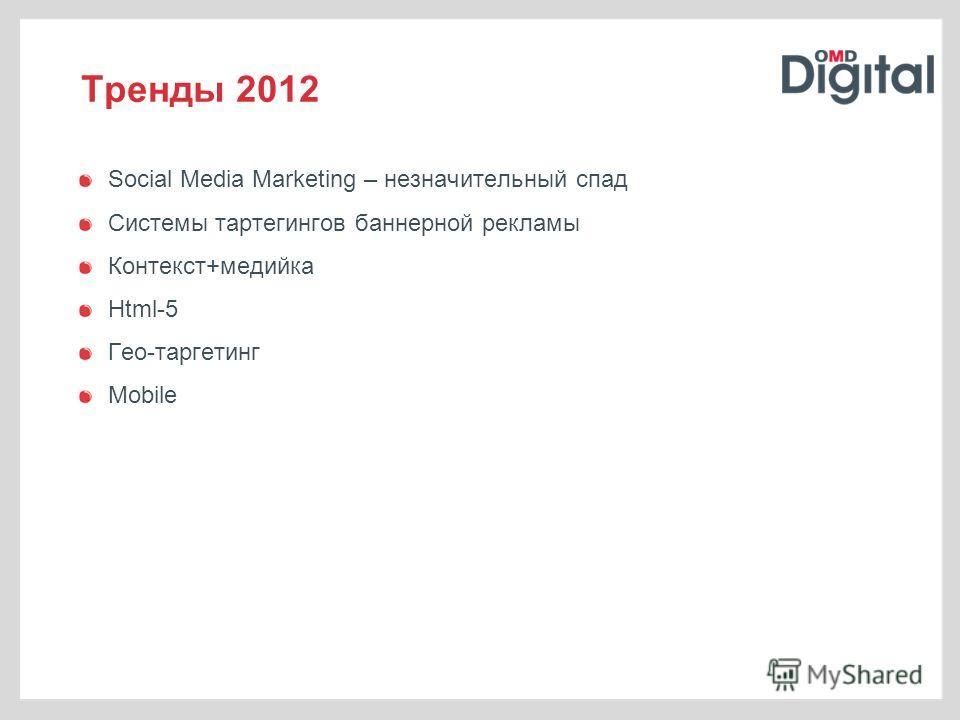 Тренды 2012 Social Media Marketing – незначительный спад Системы тартегингов баннерной рекламы Контекст+медийка Html-5 Гео-таргетинг Mobile