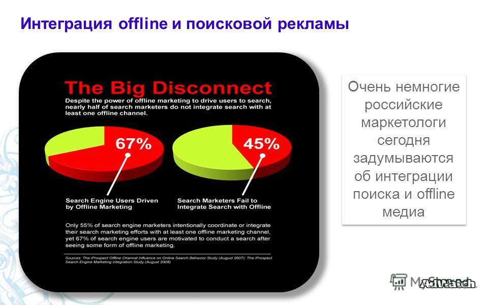 Очень немногие российские маркетологи сегодня задумываются об интеграции поиска и offline медиа Интеграция offline и поисковой рекламы