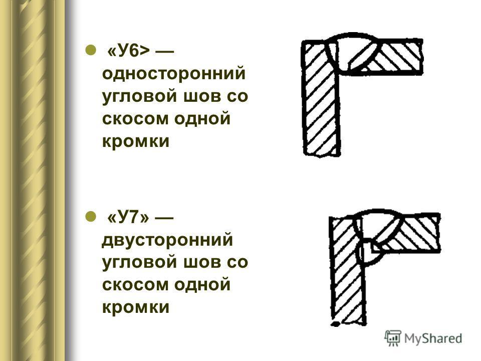 «У6> односторонний угловой шов со скосом одной кромки «У7» двусторонний угловой шов со скосом одной кромки