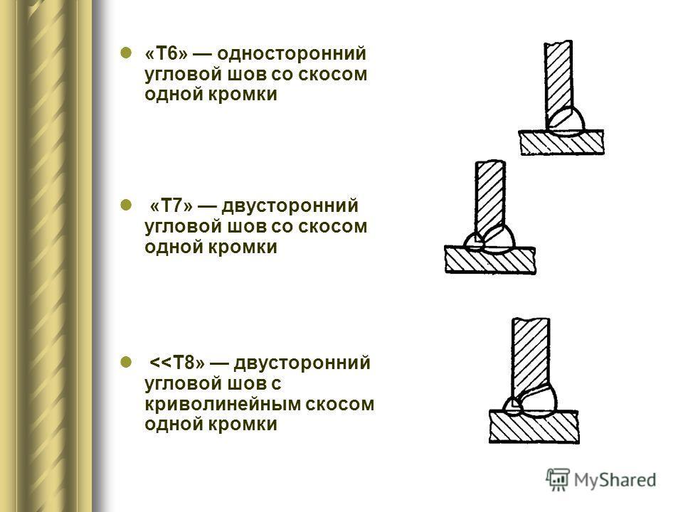 «Т6» односторонний угловой шов со скосом одной кромки «Т7» двусторонний угловой шов со скосом одной кромки
