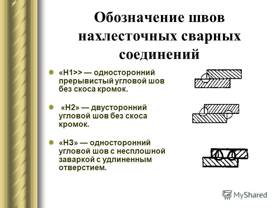 Обозначение швов нахлесточных сварных соединений «Н1>> односторонний прерывистый угловой шов без скоса кромок. «Н2» двусторонний угловой шов без скоса кромок. «НЗ» односторонний угловой шов с несплошной заваркой с удлиненным отверстием.