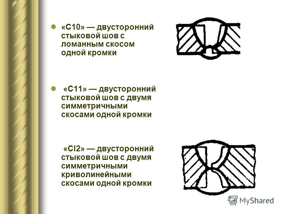 «С10» двусторонний стыковой шов с ломанным скосом одной кромки «С11» двусторонний стыковой шов с двумя симметричными скосами одной кромки «CI2» двусторонний стыковой шов с двумя симметричными криволинейными скосами одной кромки