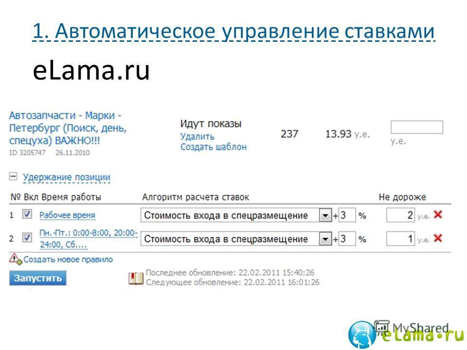 1. Автоматическое управление ставками eLama.ru