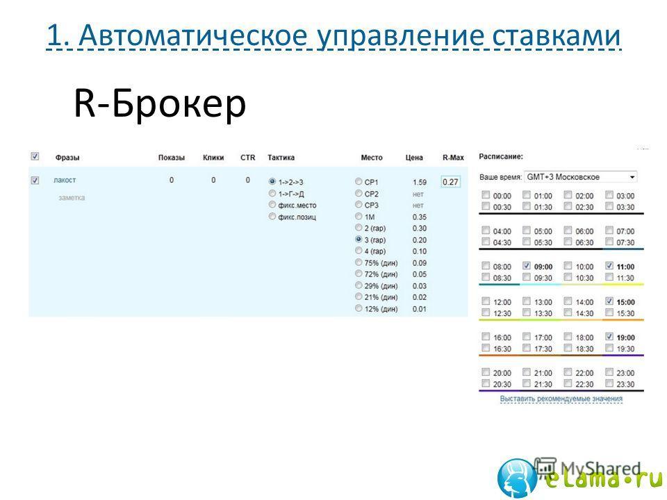 1. Автоматическое управление ставками R-Брокер
