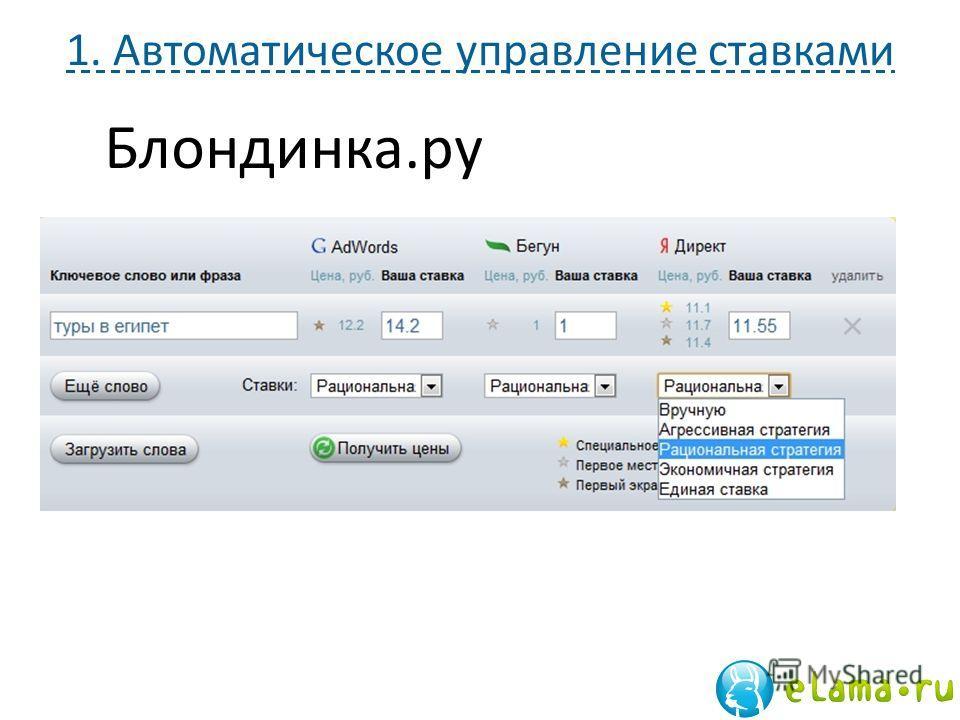 1. Автоматическое управление ставками Блондинка.ру