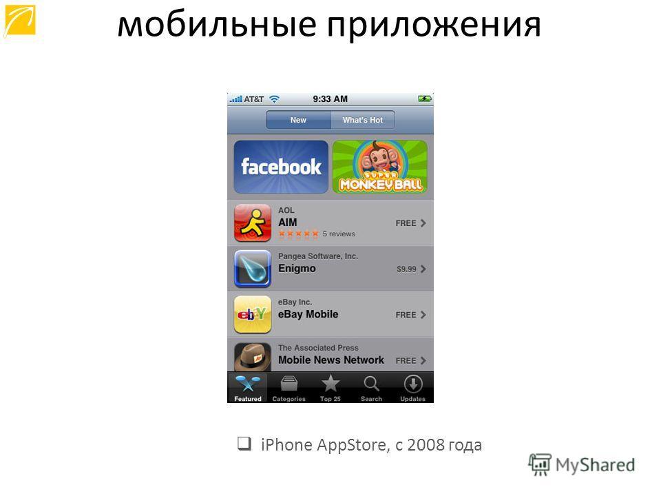 iPhone AppStore, с 2008 года мобильные приложения