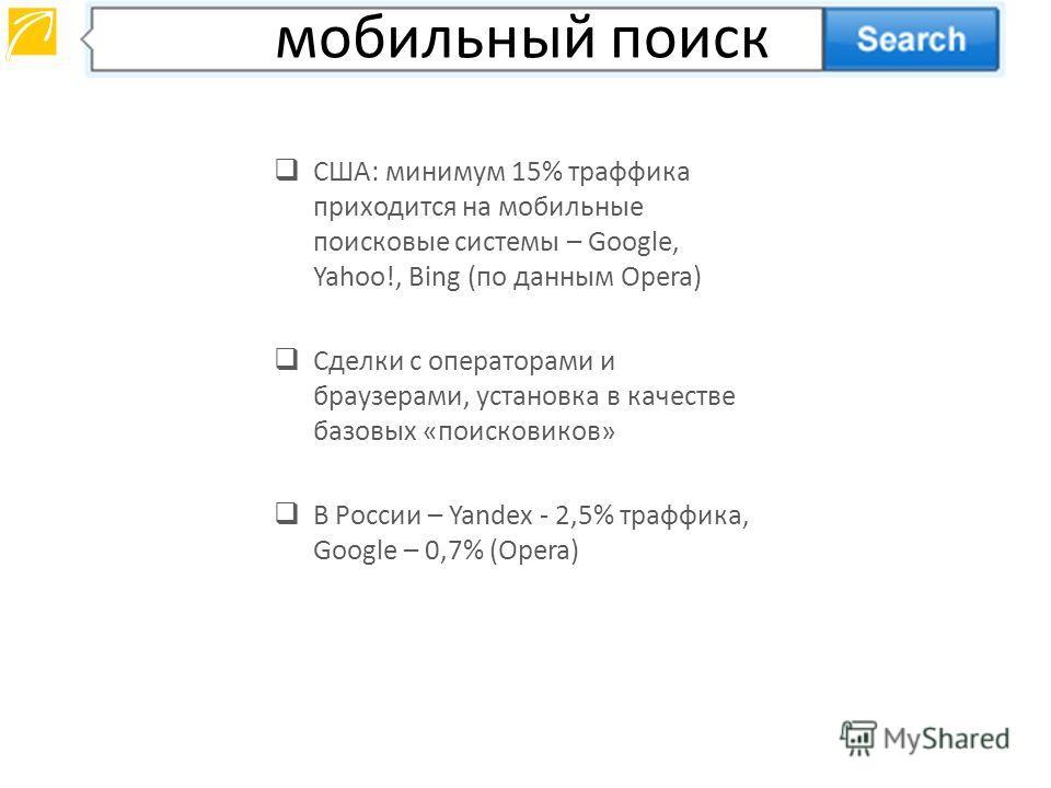 США: минимум 15% траффика приходится на мобильные поисковые системы – Google, Yahoo!, Bing (по данным Opera) Сделки с операторами и браузерами, установка в качестве базовых «поисковиков» В России – Yandex - 2,5% траффика, Google – 0,7% (Opera) мобиль