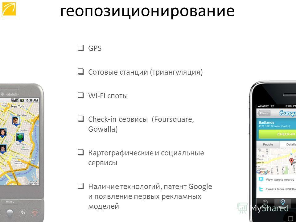 GPS Сотовые станции (триангуляция) Wi-Fi споты Check-in сервисы (Foursquare, Gowalla) Картографические и социальные сервисы Наличие технологий, патент Google и появление первых рекламных моделей геопозиционирование