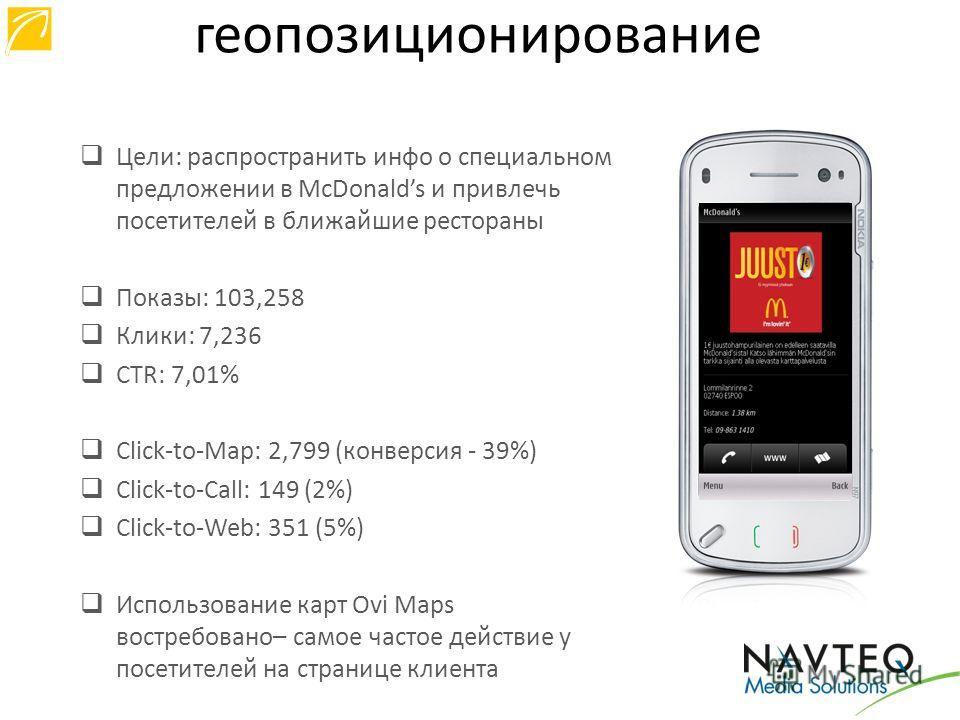Цели: распространить инфо о специальном предложении в McDonalds и привлечь посетителей в ближайшие рестораны Показы: 103,258 Клики: 7,236 CTR: 7,01% Click-to-Map: 2,799 (конверсия - 39%) Click-to-Call: 149 (2%) Click-to-Web: 351 (5%) Использование ка