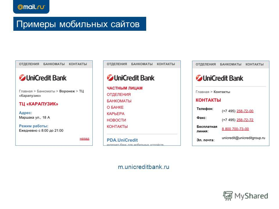 Примеры мобильных сайтов m.unicreditbank.ru