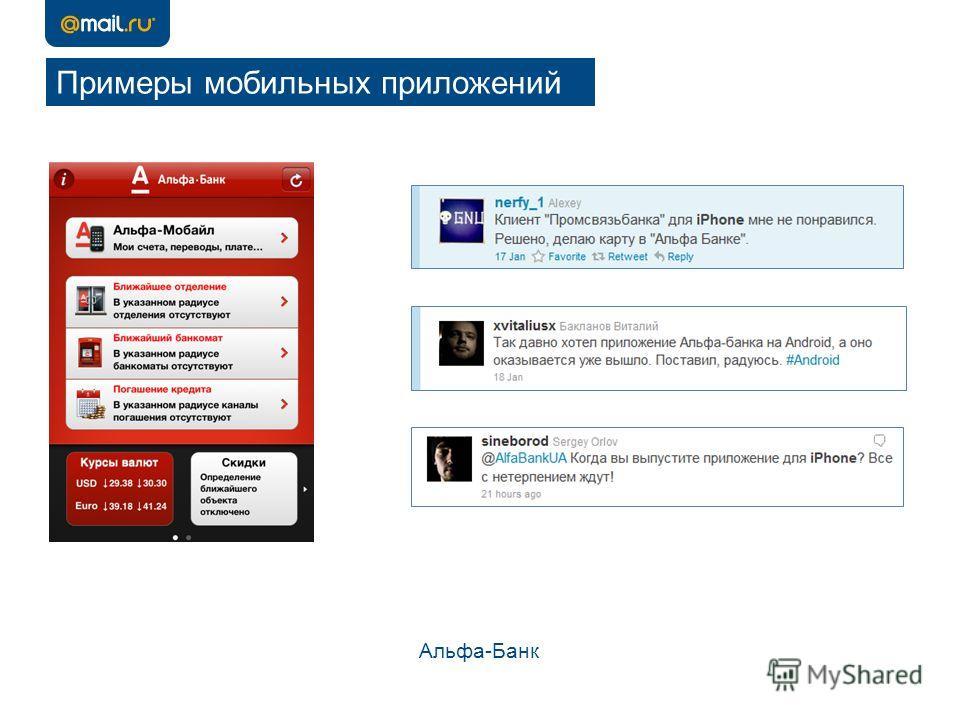 Примеры мобильных приложений Альфа-Банк